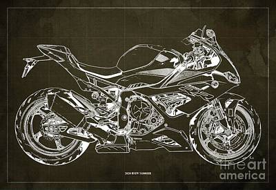 Vintage Uk Posters - 2020 BMW S1000RR Blueprint,Brown Background,Gift Ideas for Bikers by Drawspots Illustrations