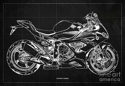 Vintage Uk Posters - 2020 BMW S1000RR Blueprint,Dark Grey Background,Gift Ideas for Bikers by Drawspots Illustrations