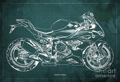 Vintage Uk Posters - 2020 BMW S1000RR Blueprint,Green Background,Gift Ideas for Bikers by Drawspots Illustrations