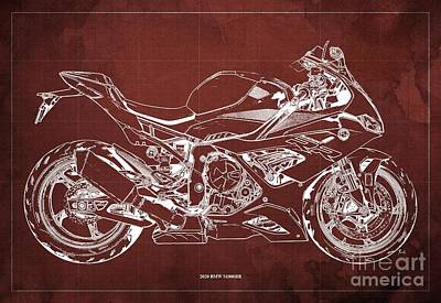 Vintage Uk Posters - 2020 BMW S1000RR Blueprint,Red Background,Gift Ideas for Bikers by Drawspots Illustrations