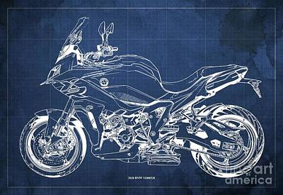 Celebrity Watercolors - 2020 BMW S1000XR Blueprint,Blue Background,Gift Ideas for Bikers by Drawspots Illustrations