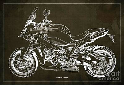 Celebrity Watercolors - 2020 BMW S1000XR Blueprint,Brown Background,Gift Ideas for Bikers by Drawspots Illustrations