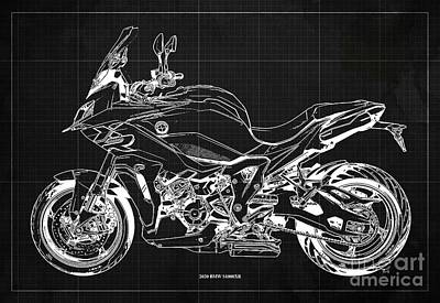 Music Figurative Potraits - 2020 BMW S1000XR Blueprint,Dark Grey Background,Gift Ideas for Bikers by Drawspots Illustrations