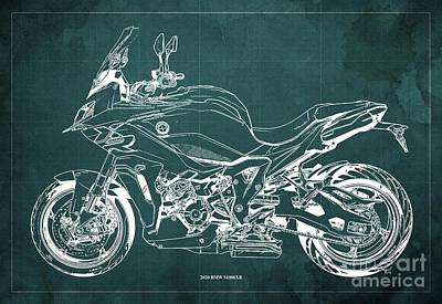 Celebrity Watercolors - 2020 BMW S1000XR Blueprint,Green Background,Gift Ideas for Bikers by Drawspots Illustrations