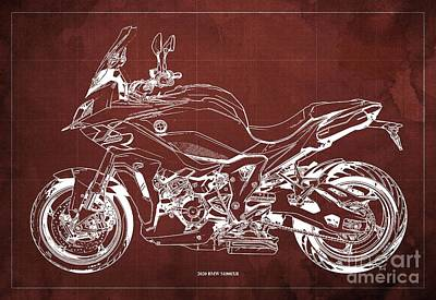 Celebrity Watercolors - 2020 BMW S1000XR Blueprint,Red Background,Gift Ideas for Bikers by Drawspots Illustrations