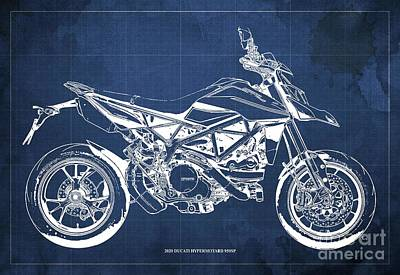 The Bunsen Burner - 2020 Ducati Hypermotard 950SP Blueprint,Blue Background,Man Cave Decoration by Drawspots Illustrations