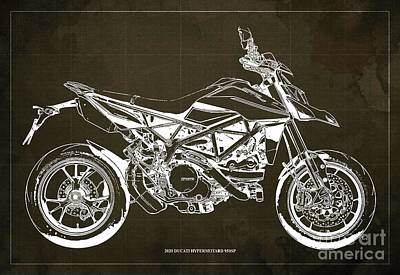 The Bunsen Burner - 2020 Ducati Hypermotard 950SP Blueprint,Brown Background,Man Cave Decoration by Drawspots Illustrations