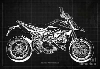 Audrey Hepburn - 2020 Ducati Hypermotard 950SP Blueprint,Dark Grey Background,Man Cave Decoration by Drawspots Illustrations