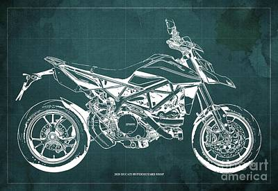 The Bunsen Burner - 2020 Ducati Hypermotard 950SP Blueprint,Green Background,Man Cave Decoration by Drawspots Illustrations