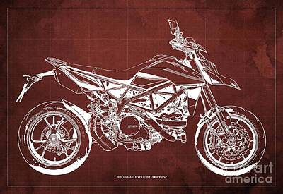 The Bunsen Burner - 2020 Ducati Hypermotard 950SP Blueprint,Red Background,Man Cave Decoration by Drawspots Illustrations