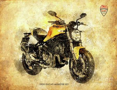 Drawings Royalty Free Images - 2020 DUCATI MONSTER 821, Ducati Serie Royalty-Free Image by Drawspots Illustrations