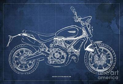 Audrey Hepburn - 2020 Ducati Scrambler 1100 Blueprint, Blue Background,Office decoration by Drawspots Illustrations