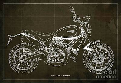 The Bunsen Burner - 2020 Ducati Scrambler 1100 Blueprint, Brown Background,Office decoration by Drawspots Illustrations