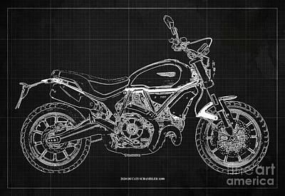 Audrey Hepburn - 2020 Ducati Scrambler 1100 Blueprint, Dark Grey Background,Office decoration by Drawspots Illustrations