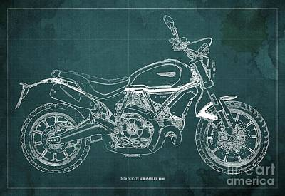 The Bunsen Burner - 2020 Ducati Scrambler 1100 Blueprint, Green Background,Office decoration by Drawspots Illustrations