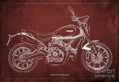 The Bunsen Burner - 2020 Ducati Scrambler 1100 Blueprint, Red Background,Office decoration by Drawspots Illustrations