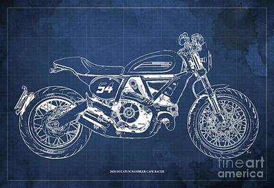 Audrey Hepburn - 2020 Ducati Scrambler Cafe Racer Blueprint,Blue Background,Pub Decoration by Drawspots Illustrations