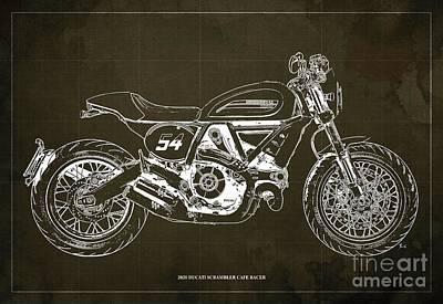 Audrey Hepburn - 2020 Ducati Scrambler Cafe Racer Blueprint,Brown Background,Pub Decoration by Drawspots Illustrations