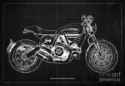 Audrey Hepburn - 2020 Ducati Scrambler Cafe Racer Blueprint,Dark Grey Background,Pub Decoration by Drawspots Illustrations