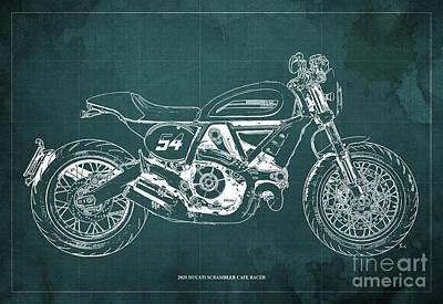 Audrey Hepburn - 2020 Ducati Scrambler Cafe Racer Blueprint,Green Background,Pub Decoration by Drawspots Illustrations
