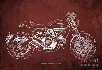Audrey Hepburn - 2020 Ducati Scrambler Cafe Racer Blueprint,Red Background,Pub Decoration by Drawspots Illustrations
