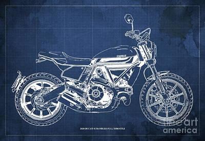 Audrey Hepburn - 2020 Ducati Scrambler Full Throttle Blueprint, Blue Background,Bar Decoration by Drawspots Illustrations