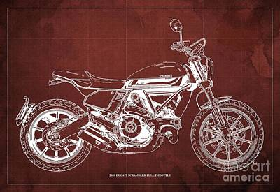 The Bunsen Burner - 2020 Ducati Scrambler Full Throttle Blueprint, Blue Background,Office decoration by Drawspots Illustrations