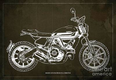 The Bunsen Burner - 2020 Ducati Scrambler Full Throttle Blueprint, Brown Background,Bar Decoration by Drawspots Illustrations