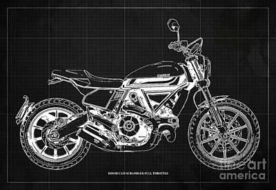 Audrey Hepburn - 2020 Ducati Scrambler Full Throttle Blueprint, Dark Grey Background,Bar Decoration by Drawspots Illustrations