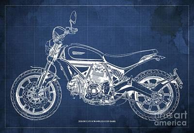 Audrey Hepburn - 2020 Ducati Scrambler Icon Dark Blueprint,Blue Vintage Background,Gift for bikers by Drawspots Illustrations