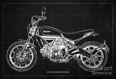 Audrey Hepburn - 2020 Ducati Scrambler Icon Dark Blueprint,Dark Grey Vintage Background,Gift for bikers by Drawspots Illustrations
