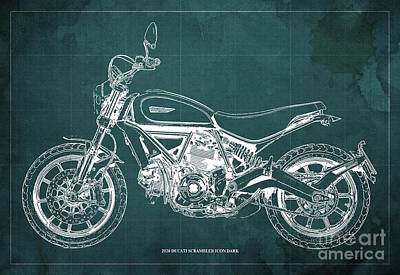 The Bunsen Burner - 2020 Ducati Scrambler Icon Dark Blueprint,Green Vintage Background,Gift for bikers by Drawspots Illustrations
