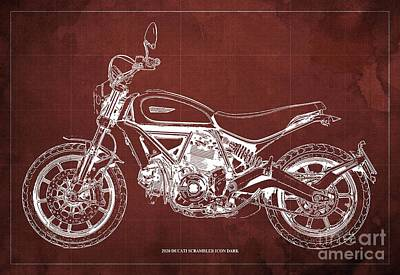 The Bunsen Burner - 2020 Ducati Scrambler Icon Dark Blueprint,Red Vintage Background,Gift for bikers by Drawspots Illustrations