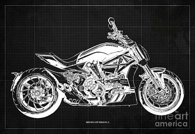Drawings Royalty Free Images - 2020 Ducati XDiavel S Blueprint,Dark Grey Background,Garage Decoration Royalty-Free Image by Drawspots Illustrations