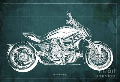 The Bunsen Burner - 2020 Ducati XDiavel S Blueprint,Green Background,Garage Decoration by Drawspots Illustrations