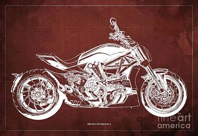 The Bunsen Burner - 2020 Ducati XDiavel S Blueprint,Red Background,Garage Decoration by Drawspots Illustrations
