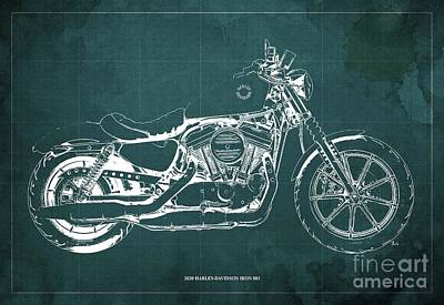 Pittsburgh According To Ron Magnes - 2020 Harley-Davidson Iron 883 Blueprint Green Background by Drawspots Illustrations