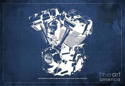 1920s Flapper Girl - 2020 Harley Davidson Screamin Eagle Milwaukee-Eight 131 Engine Blueprint Blue Background by Drawspots Illustrations