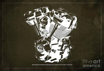 Abstract Animalia - 2020 Harley Davidson Screamin Eagle Milwaukee-Eight 131 Engine Blueprint Brown Background by Drawspots Illustrations