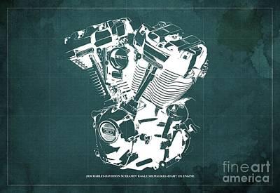 Abstract Animalia - 2020 Harley Davidson Screamin Eagle Milwaukee-Eight 131 Engine Blueprint Green Background by Drawspots Illustrations