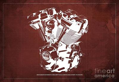 1920s Flapper Girl - 2020 Harley Davidson Screamin Eagle Milwaukee-Eight 131 Engine Blueprint Red Background by Drawspots Illustrations