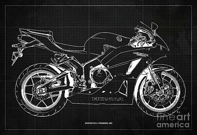 Drawings Royalty Free Images - 2020 Honda CBR600RR ABS Blueprint, Dark Grey Background, Gift Decor Ideas Royalty-Free Image by Drawspots Illustrations