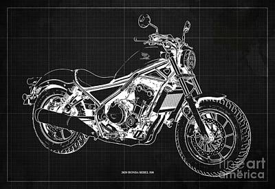 Drawings Royalty Free Images - 2020 Honda Rebel 500 Blueprint, Dark Grey Background, Man Cave Decoration Royalty-Free Image by Drawspots Illustrations