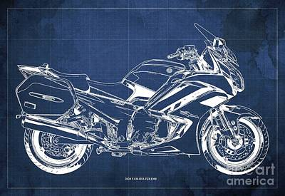 Drawings Royalty Free Images - 2020 Yamaha FJR1300 Blueprint. Blue Background.Original Gifts for Bikers Royalty-Free Image by Drawspots Illustrations