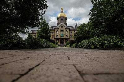 Comedian Drawings - Low walk view of the Golden Dome at University of Notre Dame by Eldon McGraw