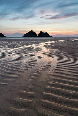 Palm Trees Rights Managed Images - Absolutely beautiful landscape images of Holywell Bay beach in C Royalty-Free Image by Matthew Gibson