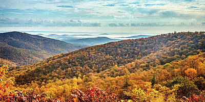 Photograph - 2to1 Pano Foggy Autumn Morning at Shenandoah National Park by Gestalt Imagery