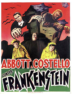 Mixed Media Royalty Free Images - Abbott and Costello Meet Frankenstein, 1948 Royalty-Free Image by Stars on Art
