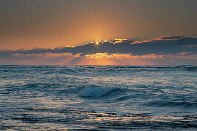 Red Roses - and the Heavens lit up - sunrise seascape by Merrillie Redden