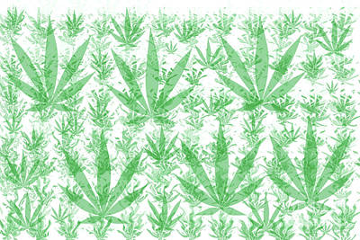 Namaste With Pixels - Cannabis Leaf Abstract by Jonathan Welch